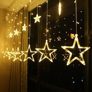 Lichterkette mit LED Kugel 6 Sterne 6 Monde 138 Leuchtioden Lichtervorhang Innen & Außenlichterkette Wasserdicht Dekoration für Weihnachten Deko Party Festen, Kupfer, Warmweiß Sternenvorhang 2.5m