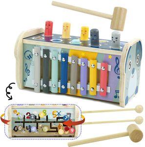 Hammerspiel Xylophon Klopfbank Montessori Spielzeug für Kinder 3 Jahre Junge Mädchen,3 in 1 Holzspielzeug Klopfbank Holzhammer Labyrinth Pädagogisches Musikspielzeug