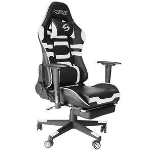 Bürostuhl Gaming Schreibtischstuhl Drehstuhl Race Chair Sportsitz + Beinauflage, schwarz/weiß