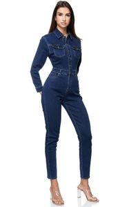 Damen Denim Jumpsuit Jeans Overall Stretch Hosenanzug Einteiler , Farben:Blau, Größe:36