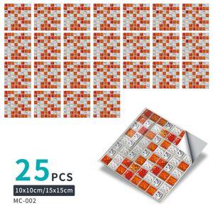 25 Stück selbstklebende Fliesenaufkleber für die Wanddekoration,Farbe: Achatrot,Größe:10x10cm
