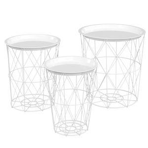 HOMCOM 3er-Set Beistelltisch mit Stauraum Nachttisch dekorativer Sofatisch mit abnehmbarem Deckel Korbablage Korbtisch Kaffeetisch Stahl Weiß Ø43 x 44,5 cm/Ø35 x 39,5 cm/Ø30 x 35,5 cm