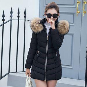 Women\'s Large Faux Fur Daunenjacke mit Kapuze Winter Warm Windproof Coat 6XL Schwarz Solide