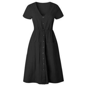 Mode Frauen V-Ausschnitt Knielange Knöpfe Pocket Party Slim A-Linie Kleid Beachwear
