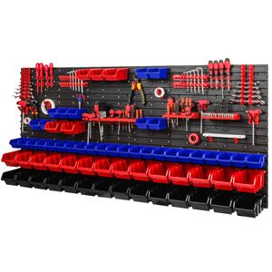 Stapelboxen Set 6x Wandregal Lagersystem 64 Boxen Halterungen 1728 x 780 mm Bunt