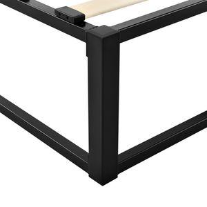 Metallbett 200x200cm Schwarz auf Stahlrahmen mit Lattenrost Bettgestell Design Doppelbett Ehebett Schlafzimmer [en.casa]