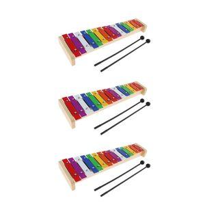 Xylophon Musikinstrument, Glockenspiel für Kinder, Baby Schlaginstrument, 3er Pack