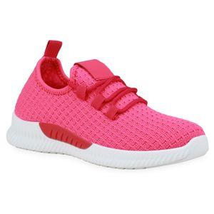Mytrendshoe Damen Laufschuhe Strick Sportschuhe Ftiness Sneaker Schnürer 833545, Farbe: Neon Pink, Größe: 37