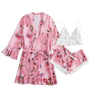 Satin Silk Pyjamas Frauen Nachthemd Dessous Roben Unterwäsche Nachtwäsche y Größe:M,Farbe:Rosa