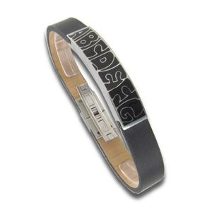 Armband - Leder Edelstahl - schwarz