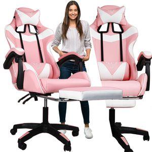 Gaming Stuhl mit Kopfstütze, Fußstütze Racing Bürostuhl Drehstuhl Sportsitz Rosa Schreibtischstuhl Gaming-Stuhl, bis zu 150kg