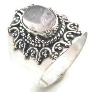 Rosenquarz Ring 925 Silber Sterlingsilber Damenring rosa (MRI 94-07),  Ringgröße:62 mm / Ø 19.7 mm