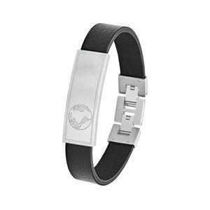 s.Oliver Leder ID-Armband für Herren, Edelstahl, Weltkugel
