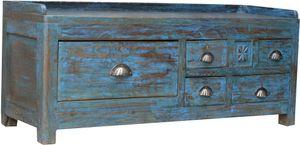Antiker Beistelltisch, Ablagetisch mit Fünf Schubfächern, Antik-blau, Holz, 42*106*32 cm, Kaffeetische & Bodentische