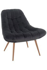 SalesFever Loungesessel mit XXL-Sitzfläche   Bezug Stoff in Samt-Optik   Gestell Metall in Holzoptik   üppige Steppung   B 76 x T 87 x H 86 cm   grau