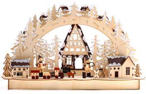 BRUBAKER 3D LED Lichterbogen Schwibbogen - Winterlandschaft mit Holzarbeitern - LED Beleuchtung - naturfarbenes Holz - 43,5 x 26,8 x 10,1 cm - Handbemalt