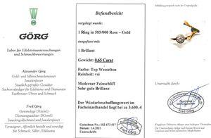Solitär Ring Diamant Roségold 585 Verlobungsring Brillant 0,65ct TW / VSI mit Görg Zertifikat 17