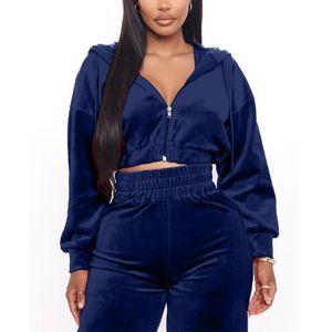 Damen Kapuzenoberteil Samt Sportswear Freizeitkleidung,Farbe: Navy blau,Größe:S