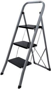 karpal Trittleiter 3 Stufen Klapptritt, 20 cm breite Stufen, Klapptreppe Tritt Haushaltstritt Stehleiter, Anti-Rutsch-Fuesse, Sprossenleiter faltbar, bis 150 kg belastbar, aus Stahl