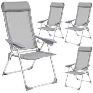 tectake 4 Aluminium Gartenstühle mit Kopfteil - grau