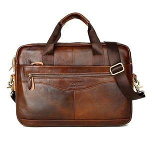 SanBenas Neue Herren Aktentaschen Original Leder Handtasche Vintage Laptop Aktentasche Messenger Umhängetaschen Herrentasche
