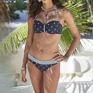 Women's Sexy Breast Polka Dot Underwire Hard Bikini Set One Piece Swimsuit Größe:L,Farbe:Schwarz