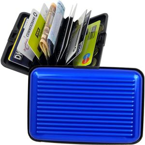 GKA RFID Kartenetui Aluminium blau Karten Safe Card Wallet Kreditkarten Visitenkarten Etui EC RFID-Sicherung Geldbörse Portemonnaie Kartenbörse