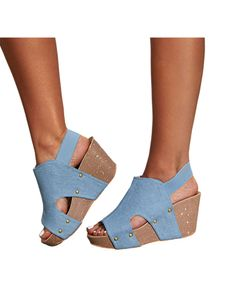 Abtel Damen Mode Wedge Leopard Print High Heels,Farbe:Blau,Größe:40