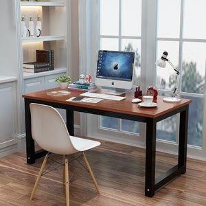 Schreibtisch 120 x 60 cm PC Tisch  Computertisch Arbeitstisch für Home Office und Büro Höhenverstellba, Farbe: Schwarz/Walnuss