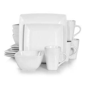 vancasso Tafelservice »SOHO« 16-tlg. Porzellan Teller Set, Kombiservice Tafelset mit Kaffeetassen, Müslischalen, Weiß