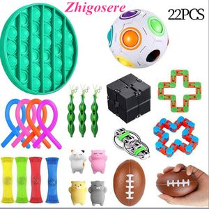 22 Stück / Set POP IT! Sensory Fidget Toys Set für Stressabbau Timer Autistic Stressabbau Spielzeug