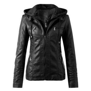 Damen Slim Leder Stand Kragen Reißverschluss Motorrad Anzug Gürtel Mantel Jacke Tops Größe:M,Farbe:Schwarz