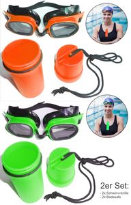 2 Schwimmbrillen im Set inklusive 2 wasserdichte Badesafes für Schlüssel, Kleingeld, etc... Farbe: Grün und Orange