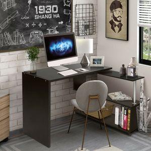 Schreibtisch Eckschreibtisch Computertisch 360° drehbar Winkelschreibtisch Büro Arbeitstisch mit Regal und Rollen schwarz