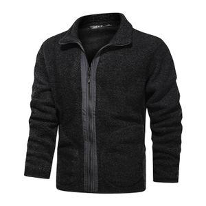 Herrenmode Jacke Plus Fleece Casual Teddy Samt Jacke Mantel Tops Größe:M,Farbe:Schwarz