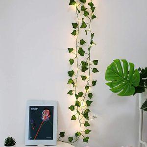 2M LED Efeugirlande Künstliches Efeu Warmweiß Lichterkette für Heim Garten Hochzeit Deko