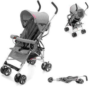 Kinderwagen Buggy mit Liegefunktion - Leichter Kindersportwagen Kompakt und Klappbar in Grau