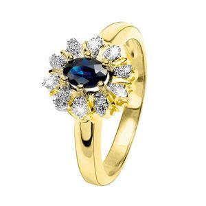 Gelbgoldener Ring mit Diamant und Saphir -  53