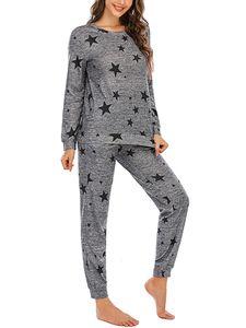 Damen Pyjama-Set Nachtwäsche lang zweiteiliger Schlafanzug ,Farbe: Dunkelgraue schwarze Sterne,Größe:L