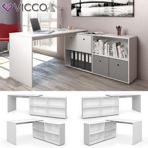 VICCO Eckschreibtisch FLEXPLUS Weiß - Computer Bürotisch PC SchreibtischWinkelschreibtisch