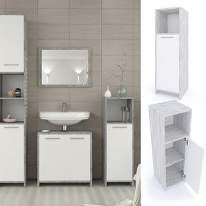 Vicco Badschrank KIKO Weiß / Grau Beton - Midischrank Badezimmerschrank Badmöbel Beistellschrank Regal Badregal