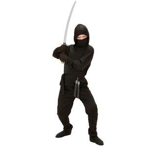 Ninja Kostüm Kinder Schwarz # Gr. 134/140
