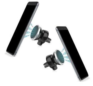 2er Set Handyhalterung Auto Magnet | Lüftungsgitter universal 360° KFZ Handy Halter | Farbe - Silber | Magnethalterung für diverse Handys / Smartphone mit 4x Metallplatte [2x rund | 2x rechteckig]
