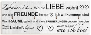 ARTland Schlüsselbrett Wo die Liebe wohnt Größe: 40x14,8 cm