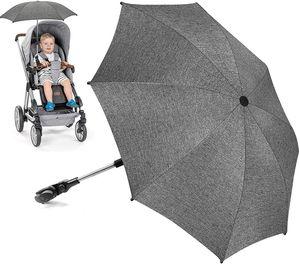 NightyNine Sonnenschirm Kinderwagen Universal, UV Schutz SPF 50+ Sonnenschutz Kinderwagen, Flexibler Sonnenschirm mit Universalhalterung für Runde und Oale Rohre, 73cm Durchmesser Babywagen Schirm Grau meliert