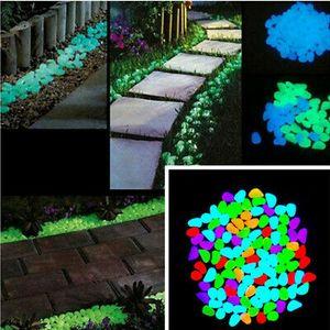 100 Stücke Leuchtsteine Leuchtkiesel Solarsteine Nachtleuchtend Garten Nachbildung Mehrfarbig