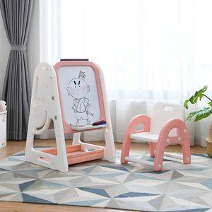 COSTWAY 2 in 1 Kinder Staffelei & Kindersitzgruppe mit Bücherregal, Kindertisch & -stuhl mit Aufbewahrungsablage und klappbarer Tischplatte, magnetische Standtafel mit Malzubehör (Orange)