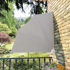 Faltbarer Balkonfächer Seitenmarkise Sichtschutz Sonnenschutz | Balkonmarkise Seitenrollo Markise Creme 140×140 cm | 4090