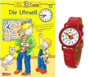 Kinder Armbanduhr + Lernbuch Conni Die Uhrzeit lernen Rot Mädchen - Pack BU KAU/1