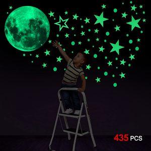 Leuchtsticker Wandtattoo, 435pcs Leuchtsterne Punkten und Mond Wandsticker Wandaufkleber DIY für Schlafzimmer Jungen Mädchen Kinderzimmer